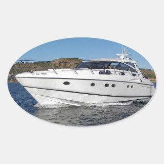 Barco de motor de lujo pegatina ovalada