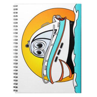 Barco de motor del Caribe del dibujo animado Spiral Notebook
