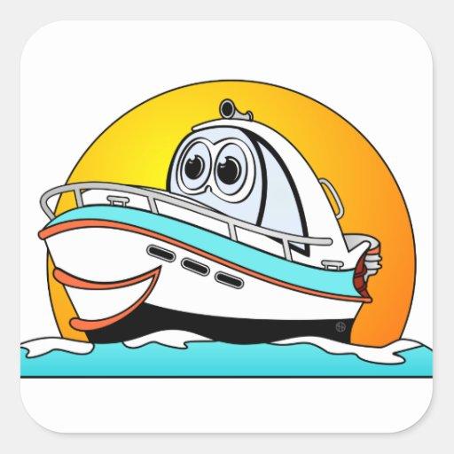 Barco de motor del Caribe del dibujo animado Pegatina Cuadrada ...