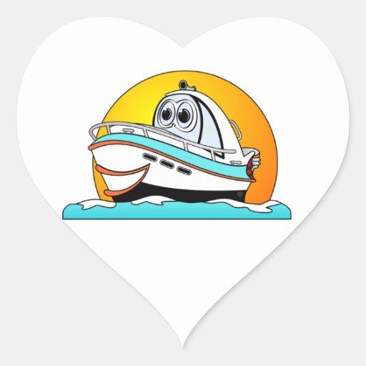 Barco de motor del Caribe del dibujo animado Pegatina En Forma De Corazón