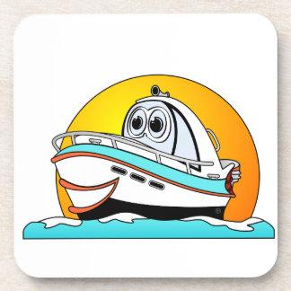 Barco de motor del Caribe del dibujo animado Posavasos De Bebida
