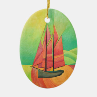 Barco de navegación abstracto cubista adorno navideño ovalado de cerámica