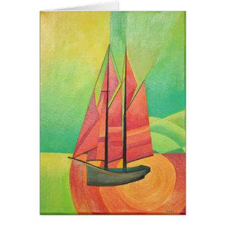 Barco de navegación abstracto cubista tarjeta de felicitación