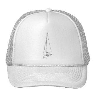 Barco de navegación. Bosquejo en blanco y negro. Gorro