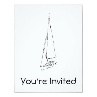 """Barco de navegación. Bosquejo en blanco y negro. Invitación 4.25"""" X 5.5"""""""