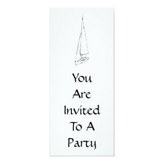 """Barco de navegación. Bosquejo en blanco y negro. Invitación 4"""" X 9.25"""""""