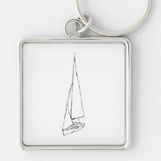 Barco de navegación Bosquejo en blanco y negro Llaveros Personalizados