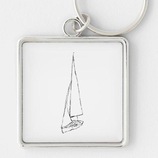 Barco de navegación. Bosquejo en blanco y negro. Llaveros Personalizados