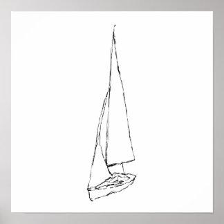 Barco de navegación. Bosquejo en blanco y negro. Póster