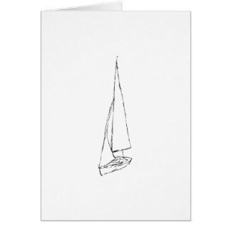 Barco de navegación Bosquejo en blanco y negro Felicitación