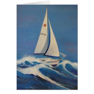 Barco de navegación en la tarjeta de felicitación