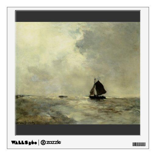 Barco de navegación en los mares picados de Johan