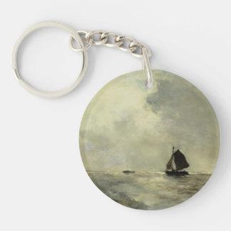 Barco de navegación en los mares picados de Johan  Llavero Redondo Acrílico A Una Cara