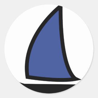 barco de navegación etiqueta redonda