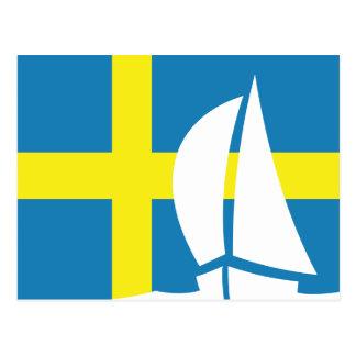 Barco de navegación sueco de la bandera Suecia náu Tarjeta Postal