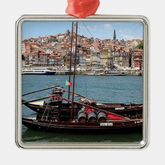 Barco de Oporto Offley, Portugal Adorno Navideño Cuadrado De Metal