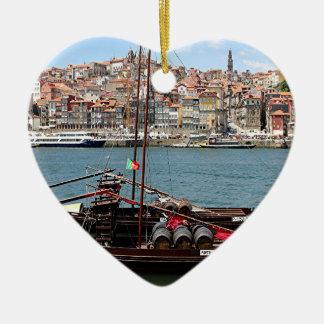 Barco de Oporto Offley, Portugal Adorno Navideño De Cerámica En Forma De Corazón