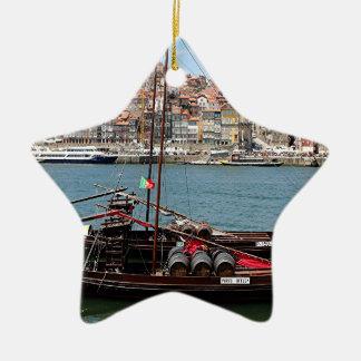 Barco de Oporto Offley, Portugal Adorno Navideño De Cerámica En Forma De Estrella