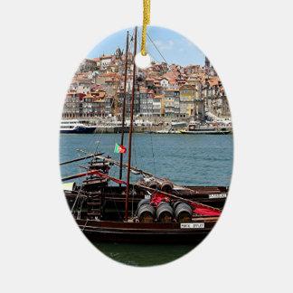 Barco de Oporto Offley, Portugal Adorno Navideño Ovalado De Cerámica