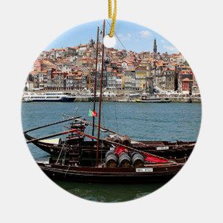Barco de Oporto Offley, Portugal Adorno Navideño Redondo De Cerámica