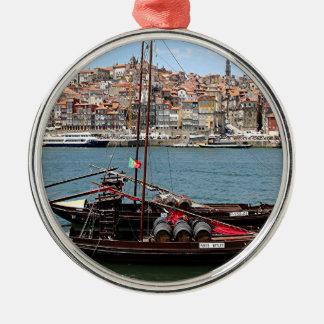 Barco de Oporto Offley, Portugal Adorno Navideño Redondo De Metal