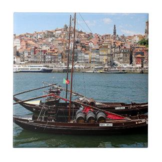 Barco de Oporto Offley, Portugal Azulejo Cuadrado Pequeño