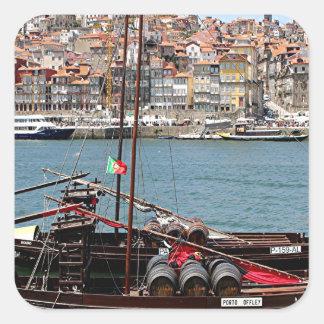 Barco de Oporto Offley, Portugal Pegatina Cuadrada