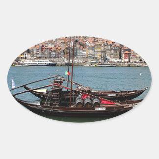 Barco de Oporto Offley, Portugal Pegatina Ovalada