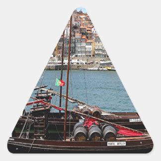 Barco de Oporto Offley, Portugal Pegatina Triangular