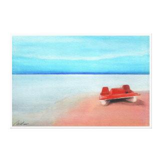 Barco de paleta en las arenas rosadas impresión en lienzo