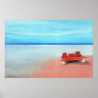 Barco de paleta en las arenas rosadas póster