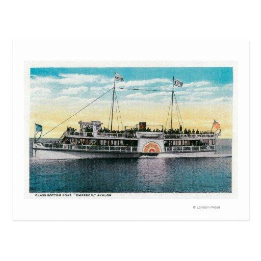 Barco de parte inferior de cristal, emperador, tarjeta postal