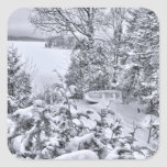 Barco de pesca, bosque del invierno, nevada del pegatina cuadradas