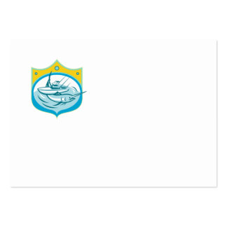 Barco de pesca de la carta de la aguja azul retro tarjetas de visita grandes