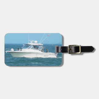 Barco de pesca de la carta etiqueta de equipaje