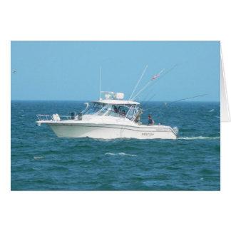Barco de pesca de la carta tarjeta de felicitación