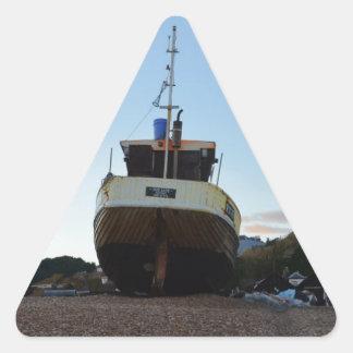 Barco de pesca de madera grande pegatina triangular