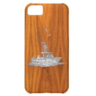 Barco de pesca del cromo en la decoración de funda para iPhone 5C