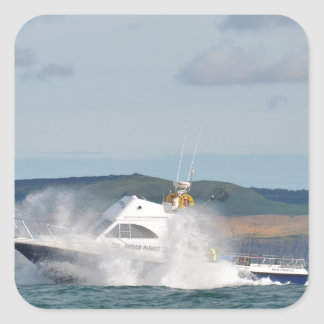 Barco de pesca del ocio pegatina cuadrada