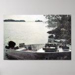 Barco de pesca del vintage poster