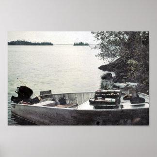 Barco de pesca del vintage póster