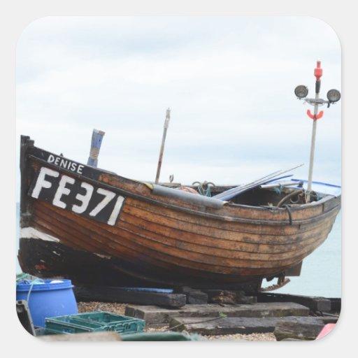 Barco de pesca Dionisia Pegatina Cuadrada