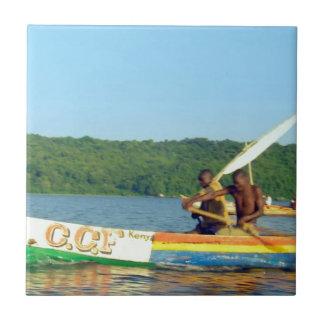 BARCO de PESCA el lago Victoria Kenia Azulejo Cuadrado Pequeño