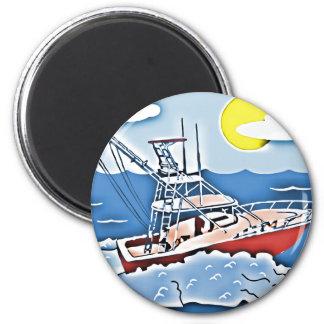 Barco de pesca en los altos mares imán para frigorífico
