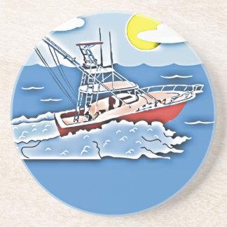 Barco de pesca en los altos mares posavaso para bebida