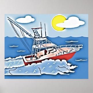 Barco de pesca en los altos mares póster