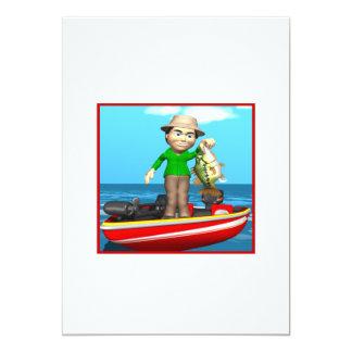 "Barco de pesca invitación 5"" x 7"""