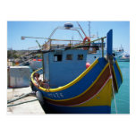 Barco de pesca maltés colorido tarjetas postales