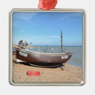 Barco de pesca Mona Lisa Adorno Cuadrado Plateado