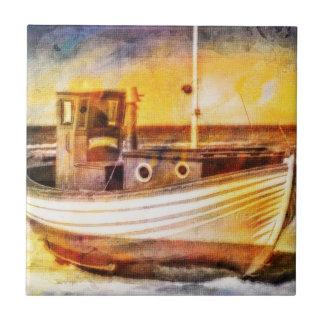 Barco de pesca náutico en la playa en el arte del  azulejo cuadrado pequeño